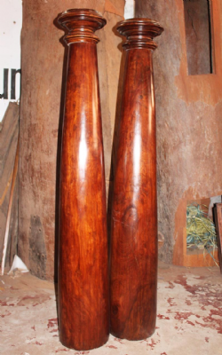 Pair of 19th Century Rosewood Temple Pillars, Kerala, South India